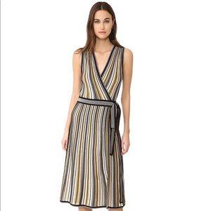 DVF ❄️ Cadenza Silk Metallic Holiday Wrap Dress M